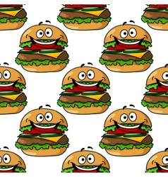 Cartoon hamburger seamless pattern vector image