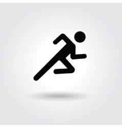 Running man icon white black silhouette vector