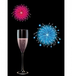 Champagne and fireworks vector