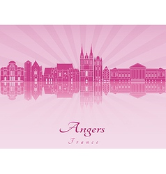 Angers skyline in purple radiant orchid vector