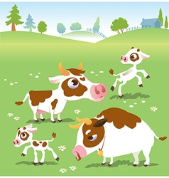 Farm animals in set cows vector image