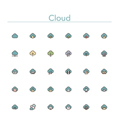 Cloud colored line icons vector