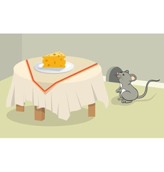 Funny mouse and cheese vector