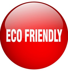 Eco friendly red round gel isolated push button vector