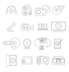 Multimedia icons set thin line style vector