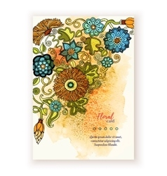 Artwork with watercolor splash and floral doodle vector