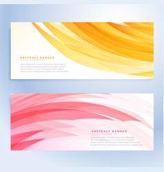 Abstract wavy banners set in yellow and pink color vector
