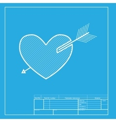 Arrow heart sign White section of icon on vector image vector image
