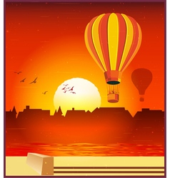 Balloons in the setting sun vector