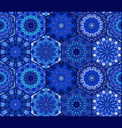 Blue background tiles mandala pattern vector