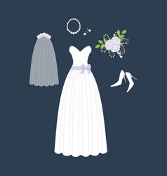 Bride weddig dress vector