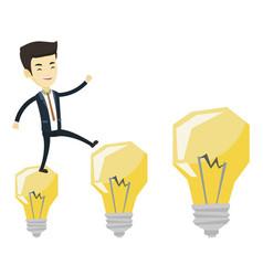 Business man jumping on light bulbs vector