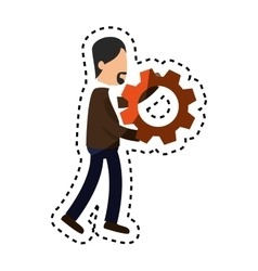 businessman character avatar with gear vector image vector image