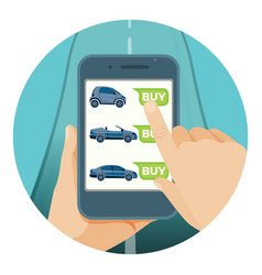 Convenient car purchase in smartphone by online vector