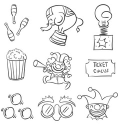 Doodle of element circus various vector