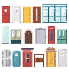 doors front entrance doorway set to house vector image