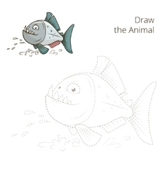 Draw the animal piranha educational game vector