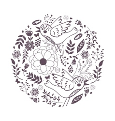 Elegant round composition with birds and flowers vector image vector image