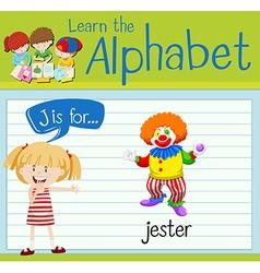 Flashcard alphabet j is for jester vector