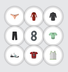 Flat garment set of lingerie uniform sneakers vector