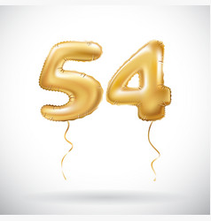 golden number 54 fifty four metallic balloon vector image