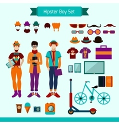 Hipster Boy Set vector image vector image