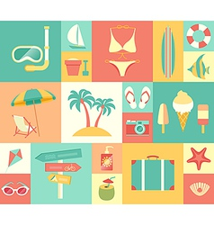 icons summer vector image vector image