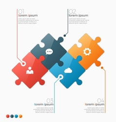 infographic template with 4 puzzle sections vector image