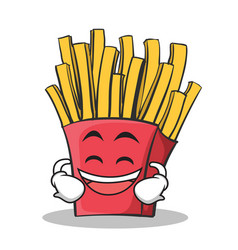 laughing face french fries cartoon character vector image vector image