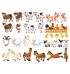 many kinds of farm animals vector image vector image