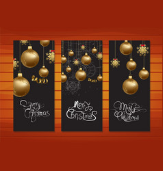 Merry christmas banners with gold balls background vector