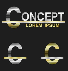 Metallic business font design - letter c vector