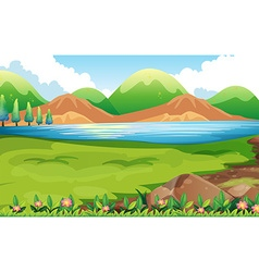Nature scene with hills background vector image