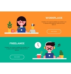 People working at laptops Set of banners vector image