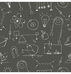 Physics doodles seamless pattern vector image vector image