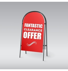 Sandwich board with an inscription on a red vector