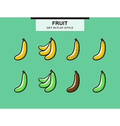 Set of ripe and overripe bananas vector image