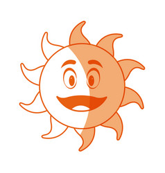 Smiling funny cartoon sun with vector