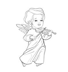 Toddler angel making music playing violin vector image vector image