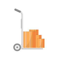 warehouse cart with delivery boxes icon vector image vector image