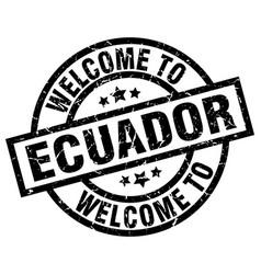 Welcome to ecuador black stamp vector