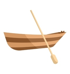 Wooden boat with paddle icon cartoon style vector