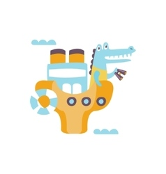 Crocodile On A Ship With Binoculars Stylized vector image