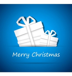 Two christmas gift from white paper vector image