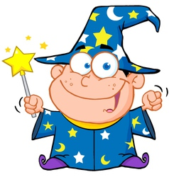 Wizard boy waving with magic wand vector