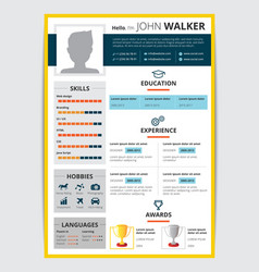 Job candidate resume template vector