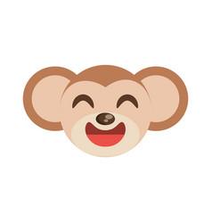 cute monkey face animal cheerful vector image