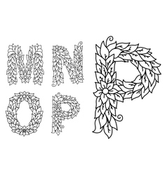 Floral letters m n o and p vector