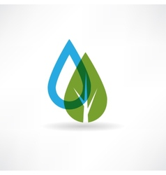 Drop on eco tree abstraction icon vector