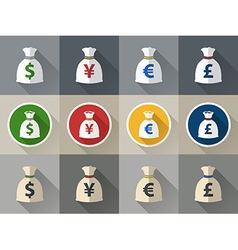 Money bag icon set with currency symbol vector